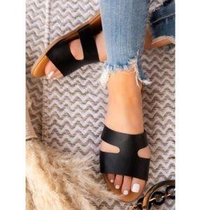 Black Vegan Leather Sandals